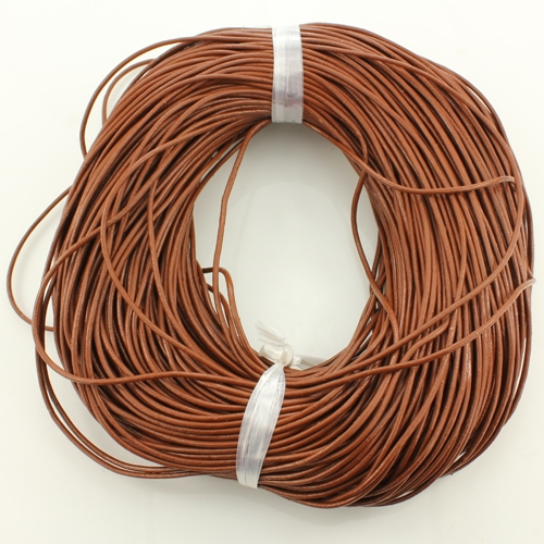 Round Leather Cord, brown, 1mm, (Sold by the Meter)