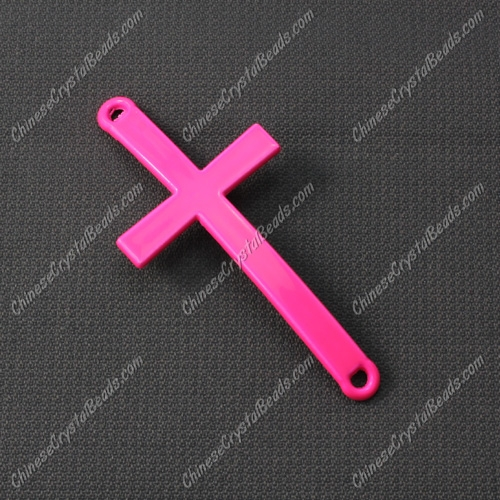 Alloy cross pendant, 21x46mm, hole about 2mm, neon color fuchsia, sold 1pcs