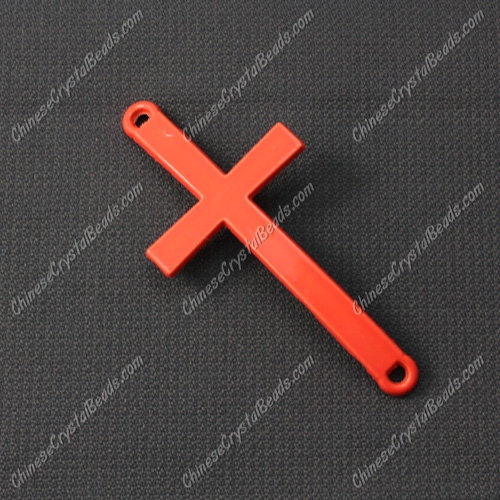 Alloy cross pendant, 21x46mm, hole about 2mm, neon color orange, sold 1pcs