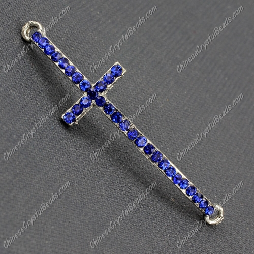 Pave cross Charms, alloy, 14x50mm, hole:2mm, sapphire, 1pcs
