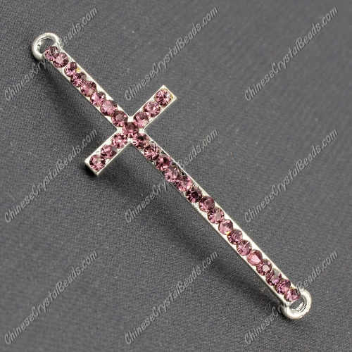 Pave cross Charms, alloy silver plated, 14x50mm, hole: 2mm, purple, 1pcs