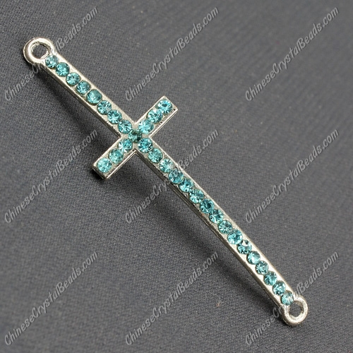 Pave cross Charms, alloy silver plated, 14x50mm, hole: 2mm, aqua, 1pcs