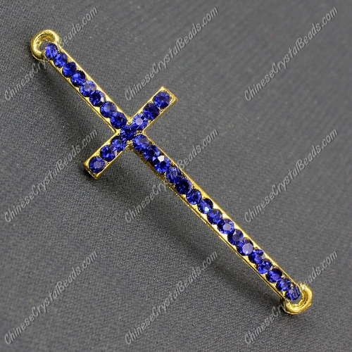 Pave cross Charms, alloy gold-plated, 14x50mm, hole: 2mm, sapphire, 1pcs