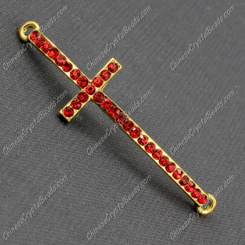 Pave cross Charms, alloy gold-plated, 14x50mm, hole: 2mm, red, 1pcs