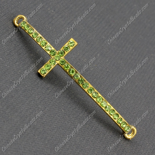 Pave cross Charms, alloy gold-plated, 14x50mm, hole: 2mm, olivine, 1pcs