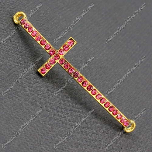 Pave cross Charms, alloy gold-plated, 14x50mm, hole: 2mm, fuchsia, 1pcs