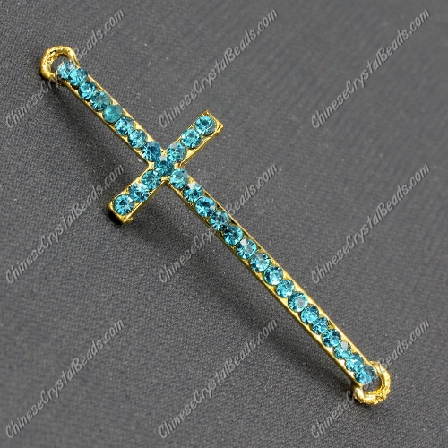 Pave cross Charms, alloy gold-plated, 14x50mm, hole: 2mm, aqua, 1pcs