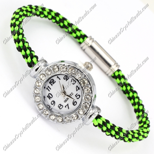weave watch bracelet, Magnetic Clasps jewelry, 5mm wide, Length:7""