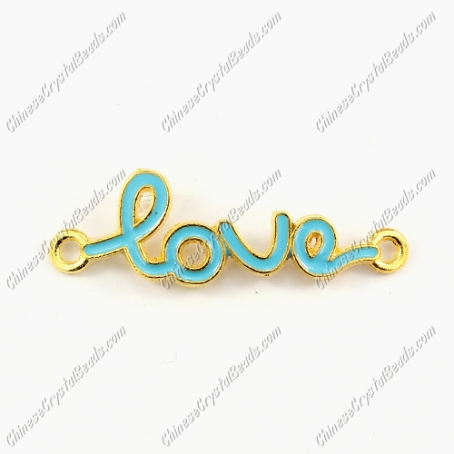 Love Links Connectors Pendants charm, 12x39mm, gold plated, aqua, 1pcs