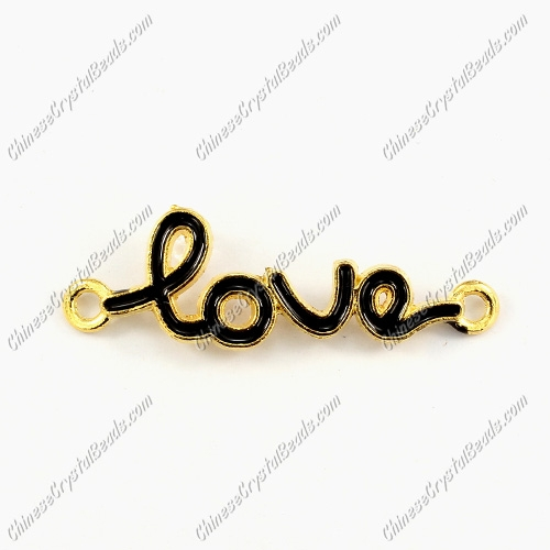 Love Links Connectors Pendants charm, 12x39mm, gold plated, black, 1pcs