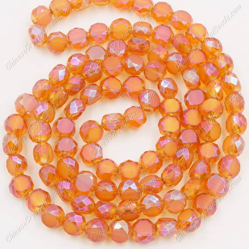 6mm Bread crystal beads long strand, amber AB, 100pcs per strand