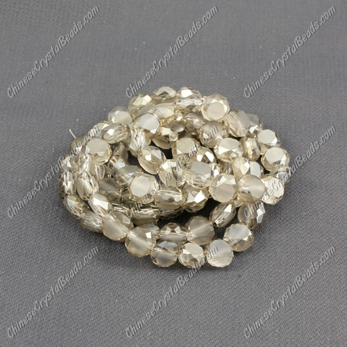 6mm Bread crystal beads long strand, silver shade, 100pcs per strand