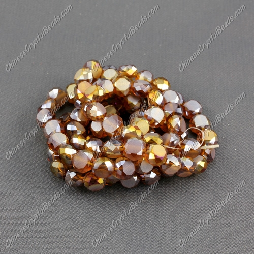6mm Bread crystal beads long strand, topaz AB, 100pcs per strand