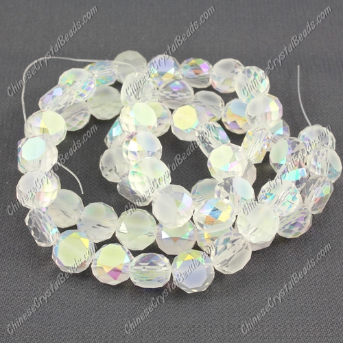 8mm Bread crystal beads long strand, clear AB, 70pcs per strand