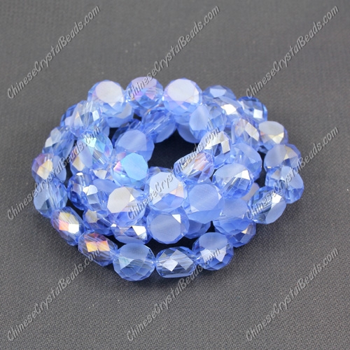 8mm Bread crystal beads long strand, lt. sapphire AB, 70pcs per strand