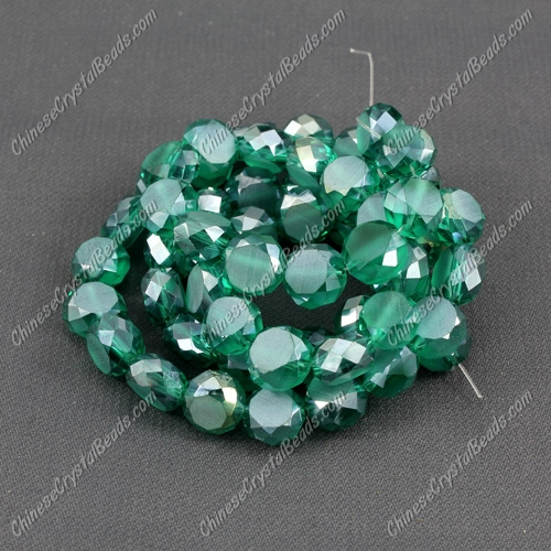 8mm Bread crystal beads long strand, Emerald, 70pcs per strand