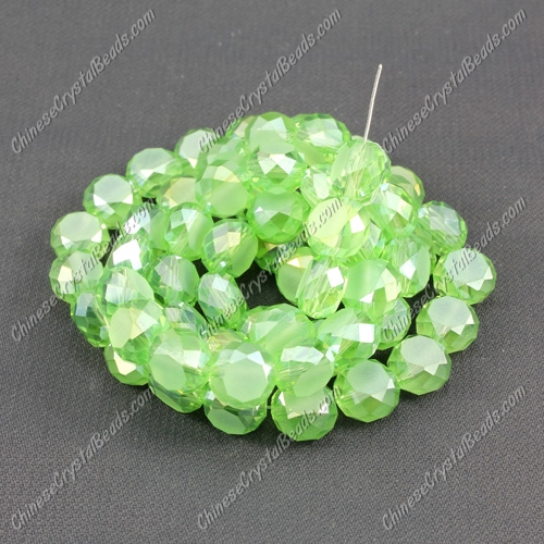 8mm Bread crystal beads long strand, lime green AB, 70pcs per strand