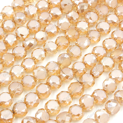 8mm Bread crystal beads long strand, golden shadow, 70pcs per strand