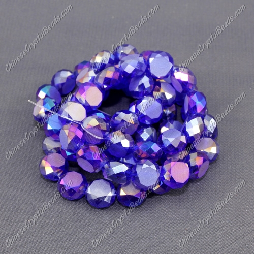 8mm Bread crystal beads long strand, sapphire AB, 70pcs per strand