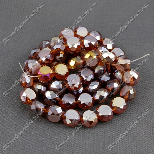 8mm Bread crystal beads long strand, smoked topaz AB, 70pcs per strand