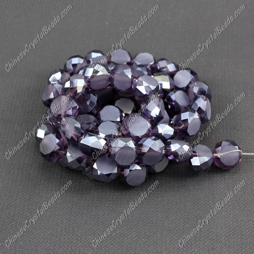 8mm Bread crystal beads long strand, violet AB, 70pcs per strand
