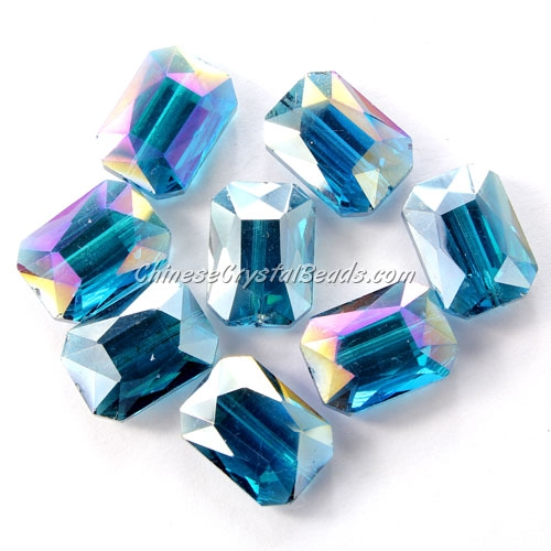 Chinese Crystal Faceted Rectangle Pendant ,capri blue AB, 13x18mm, 10 beads