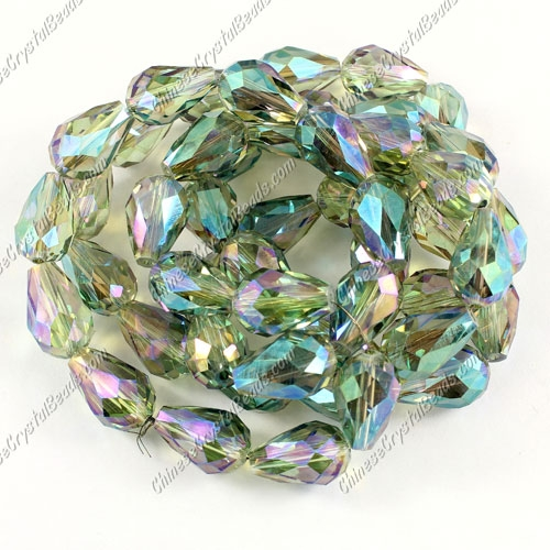 20Pcs 10x15mm Chinese Crystal Teardrop Bead strand, transparently green light