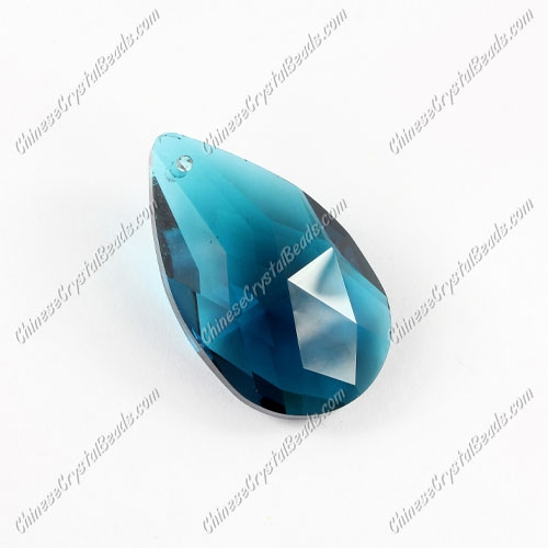 38x22mm Crystal beads Faceted Teardrop Pendant, Capri blue, hole: 1.5mm