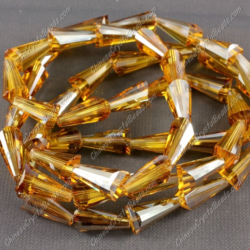 20pcs Chinese Artemis crystal beads strand, 8x15mm, amber satin