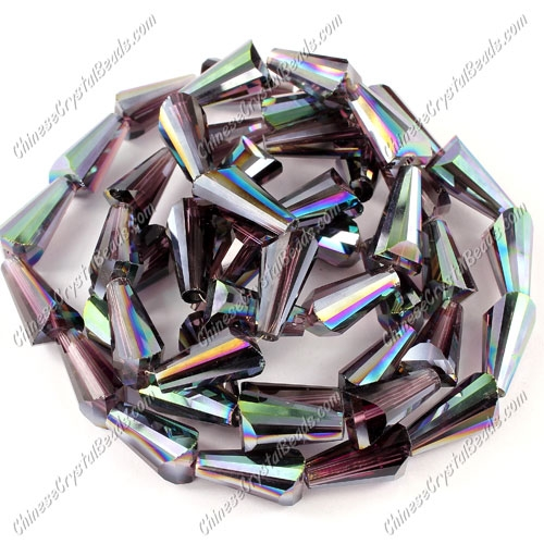 20pcs Chinese Artemis crystal beads strand, 8x15mm, amethyst and green light