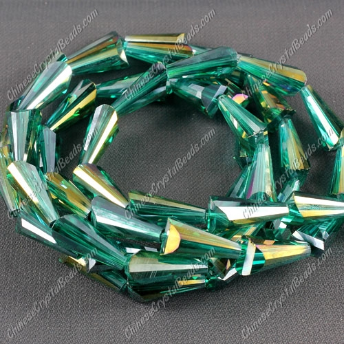 20pcs Chinese Artemis crystal beads strand, 8x15mm, emerald AB