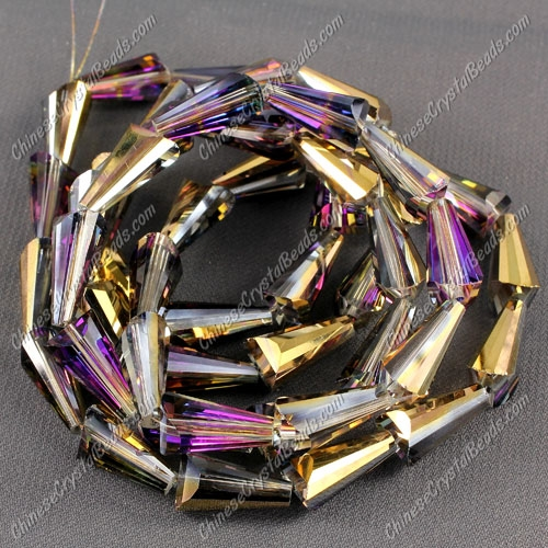 20pcs Chinese Artemis crystal beads strand, 8x15mm, gold purple