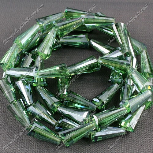 20pcs Chinese Artemis crystal beads strand, 8x15mm, green satin