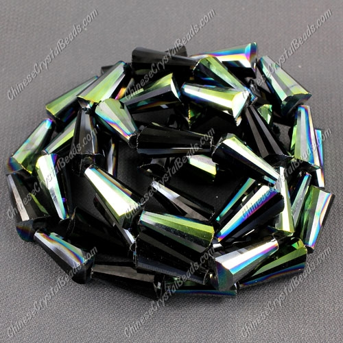 20pcs Chinese Artemis crystal beads strand, 8x15mm, jet green light