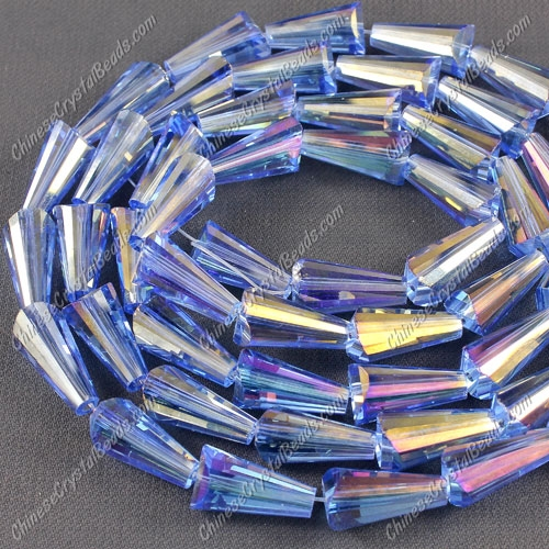 20pcs Chinese Artemis crystal beads strand, 8x15mm, light sapphire