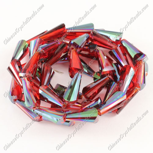 20pcs Chinese Artemis crystal beads strand, 8x15mm, siam and green light