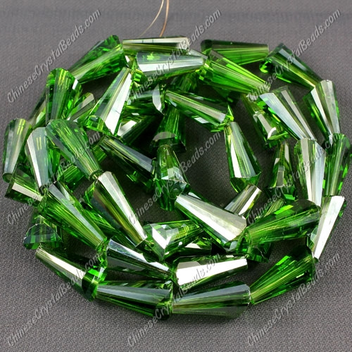 20pcs Chinese Artemis crystal beads strand, 8x15mm, Fern green satin