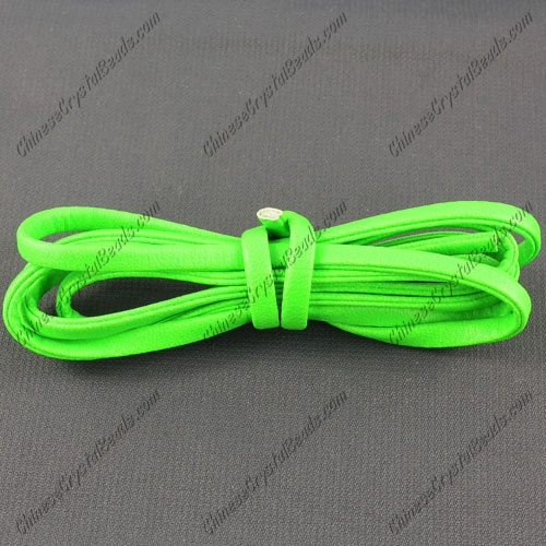 4 folded Nappa flat leather cord, 4mm, green neon color, (Sold by the meter)