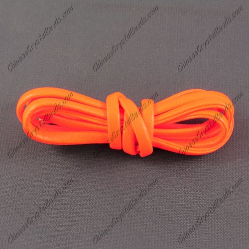 4 folded Nappa flat leather cord, 4mm, orange neon color, (Sold by the meter)