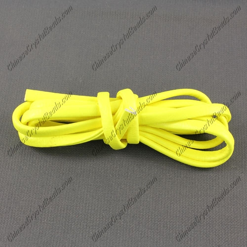 4 folded Nappa flat leather cord, 4mm, yellow neon color, (Sold by the meter)