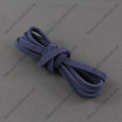 Suede Flat Leather Cord, 3x1.5mm, dark blue, 1 piece=1 meter