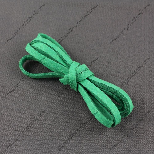 Suede Flat Leather Cord, 4x1.5mm, emerald, 1 piece=1 meter