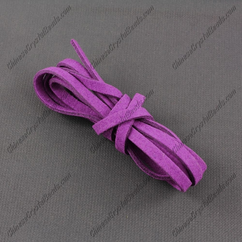 Suede Flat Leather Cord, 4x1.5mm, purple, 1 piece=1 meter