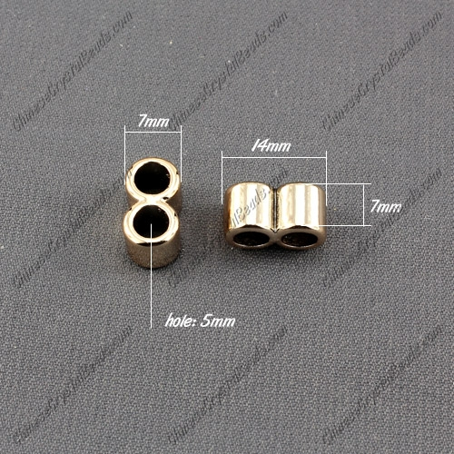 CCB Plastic Beads, golden color, 2 hole,14x7x7mm, hole:5mm, sold per pkg of 50pcs