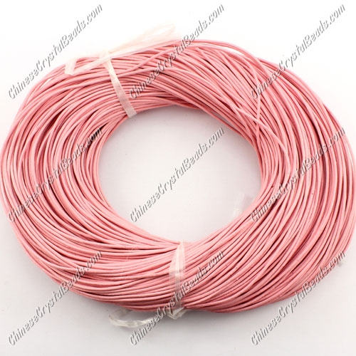 Round Leather Cord, Pink , (1mm, 1.5mm, 2mm)(Sold by the Meter)