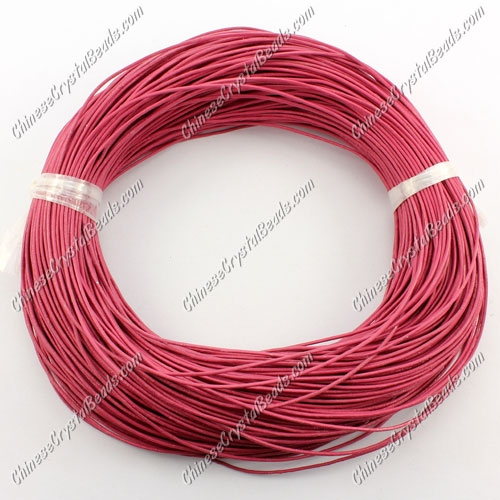 Round Leather Cord, Dark Pink, (1mm, 1.5mm, 2mm)(Sold by the Meter)