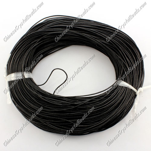 Round Leather Cord, black, 1mm, (Sold by the Meter)