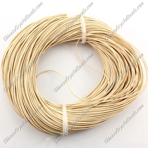 Round Leather Cord, Beige,(1mm, 1.5mm, 2mm) (Sold by the Meter)