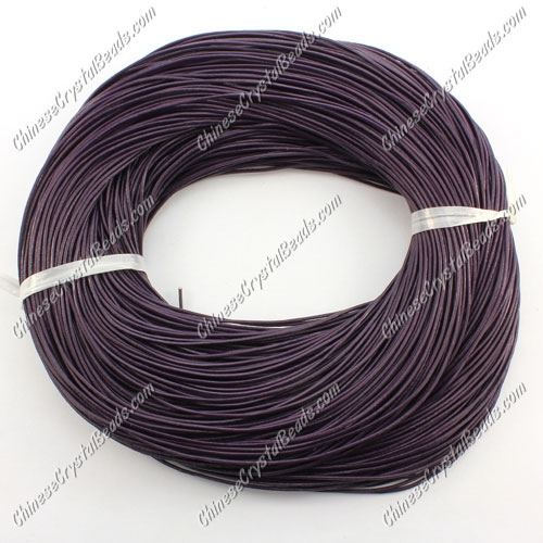Round Leather Cord, violet, (1mm, 1.5mm, 2mm)(Sold by the Meter)