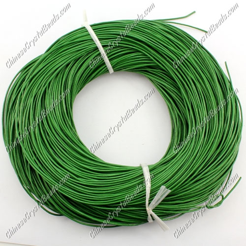 Round Leather Cord, emerald, (1mm, 1.5mm, 2mm) (Sold by the Meter)